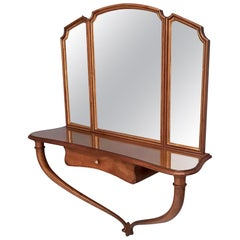 Hallway Triptych Mirror with Solid Walnut Console and a Glass Top, Italy, 1950s