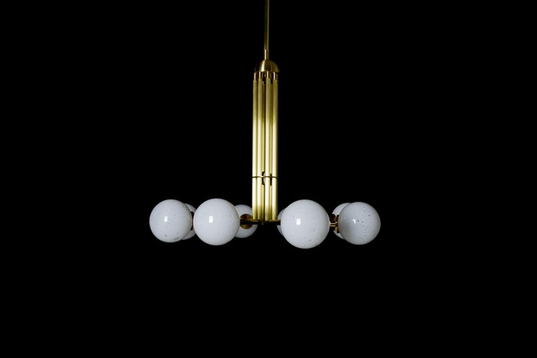 Halo, Brass, Hand Blown Glass, Contemporary Chandelier, Kalin Asenov For Sale 6