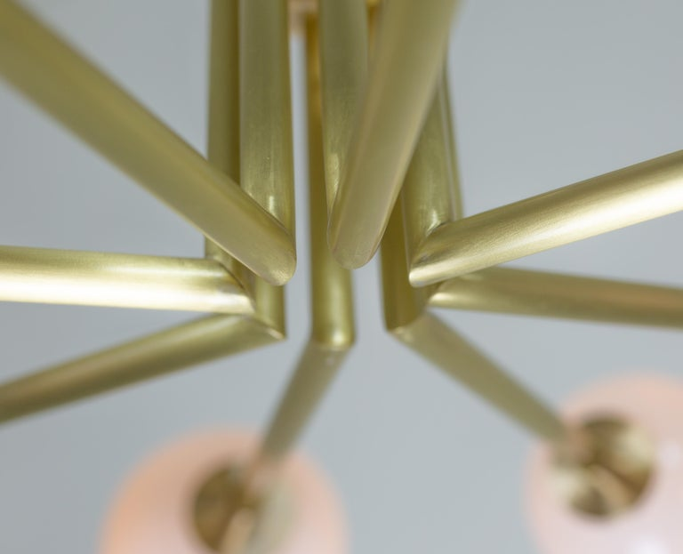 Halo, Brass, Hand Blown Glass, Contemporary Chandelier, Kalin Asenov For Sale 10