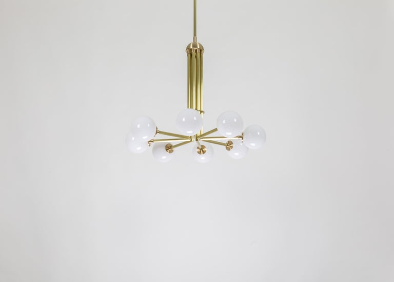 American Halo, Brass, Hand Blown Glass, Contemporary Chandelier, Kalin Asenov For Sale