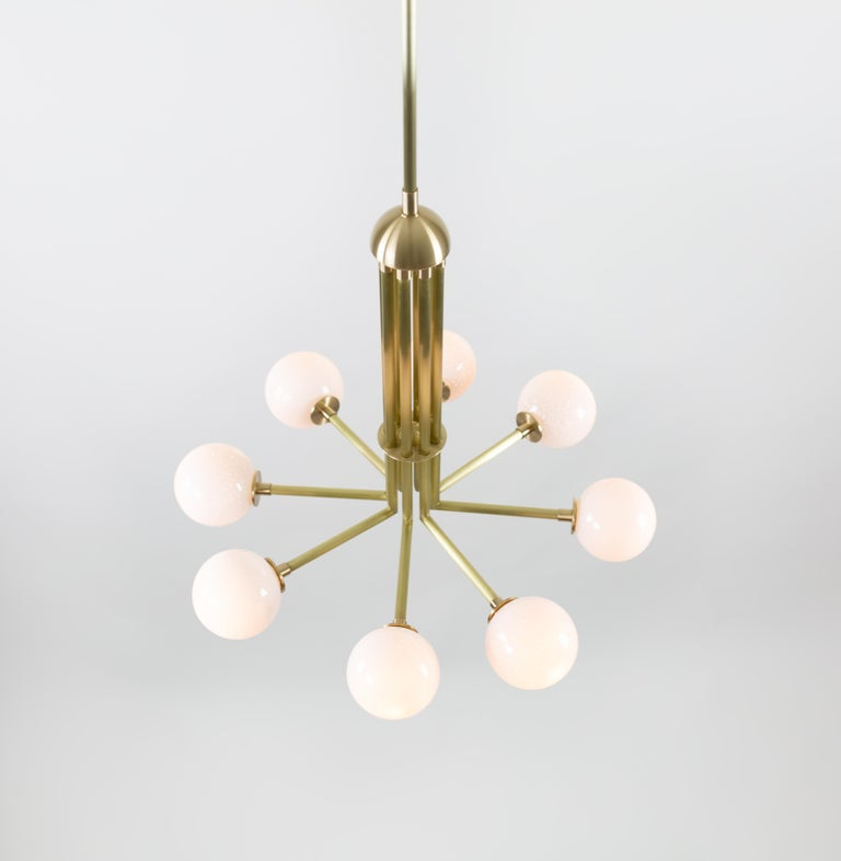 Halo, Brass, Hand Blown Glass, Contemporary Chandelier, Kalin Asenov For Sale 1