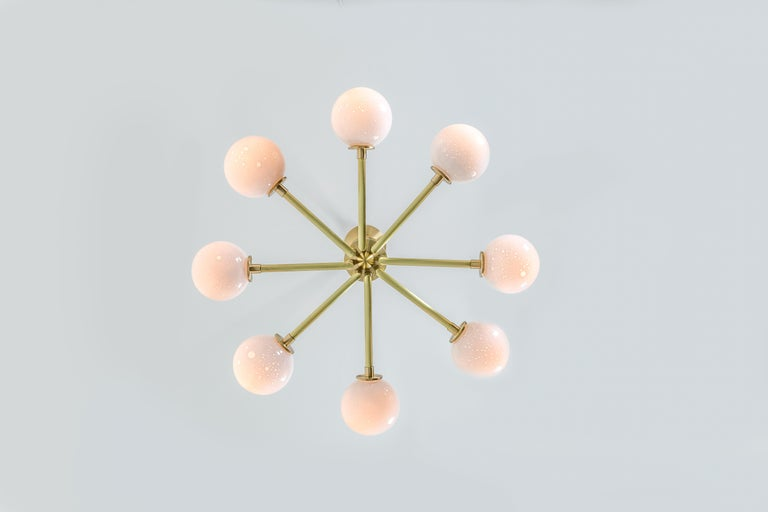 Halo, Brass, Hand Blown Glass, Contemporary Chandelier, Kalin Asenov For Sale 2