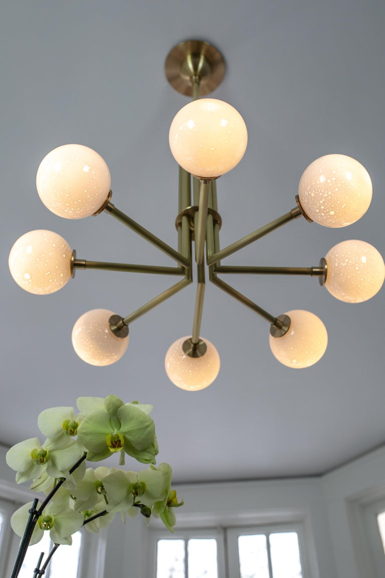 Halo, Brass, Hand Blown Glass, Contemporary Chandelier, Kalin Asenov In New Condition For Sale In Savannah, GA