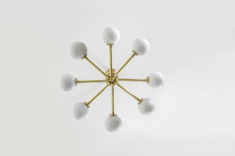 Halo, Brass, Hand Blown Glass, Contemporary Chandelier, Kalin Asenov For Sale 3