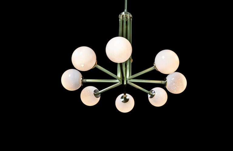 Halo, Brass, Hand Blown Glass, Contemporary Chandelier, Kalin Asenov For Sale 4