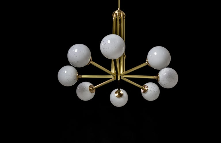 Halo, Brass, Hand Blown Glass, Contemporary Chandelier, Kalin Asenov For Sale 5