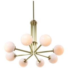 Halo, Brass, Hand Blown Glass, Contemporary Chandelier, Kalin Asenov