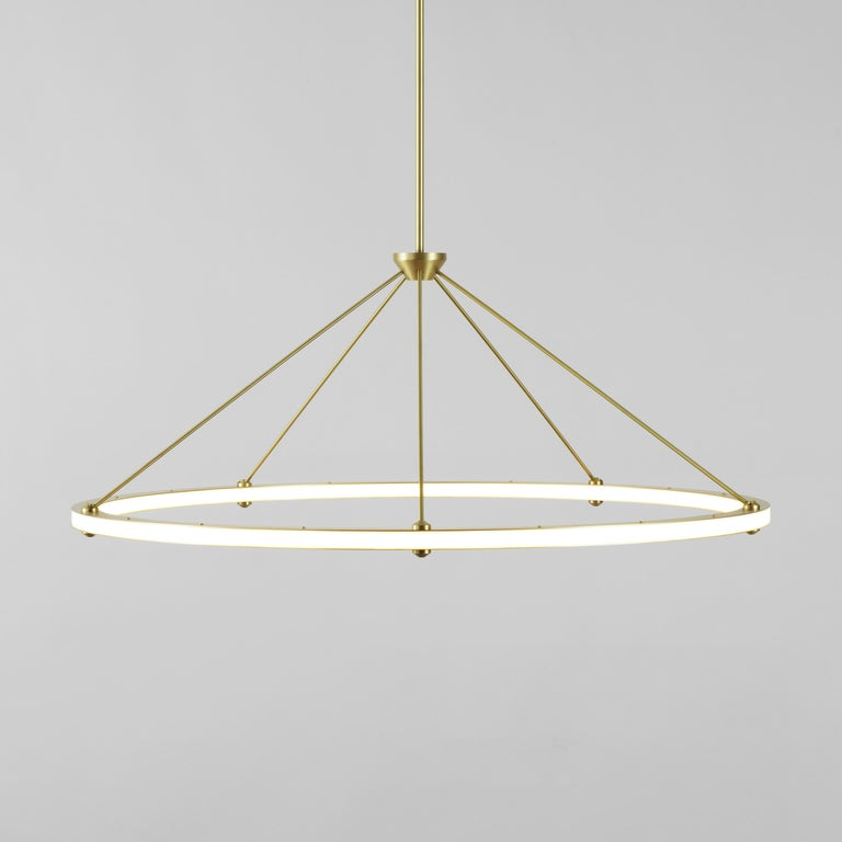 Modern Halo Circle Pendant Light in Brass by Paul Loebach for Roll & Hill For Sale