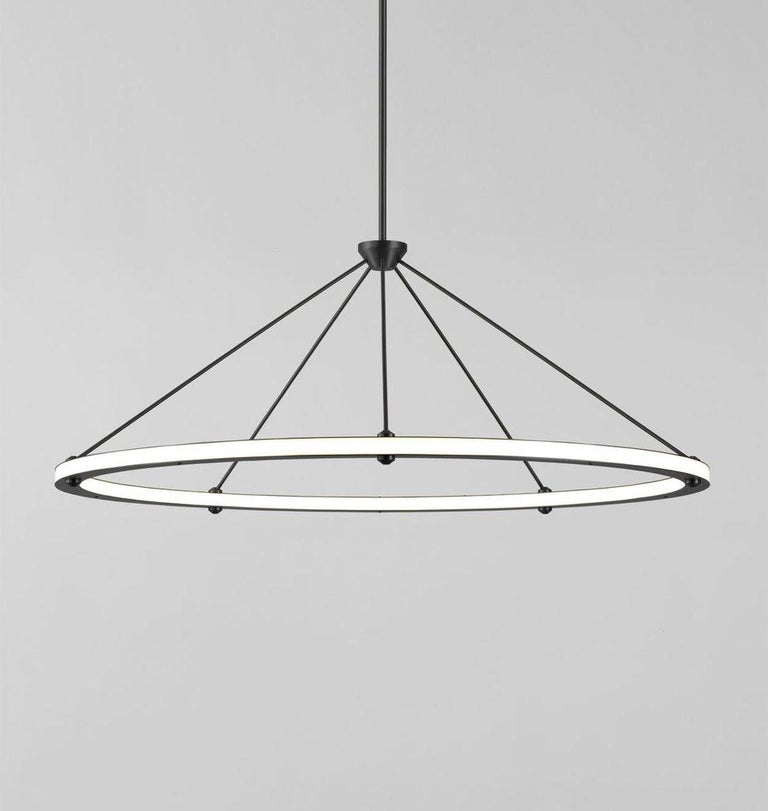 American Halo Circle Pendant Light in Brass by Paul Loebach for Roll & Hill For Sale