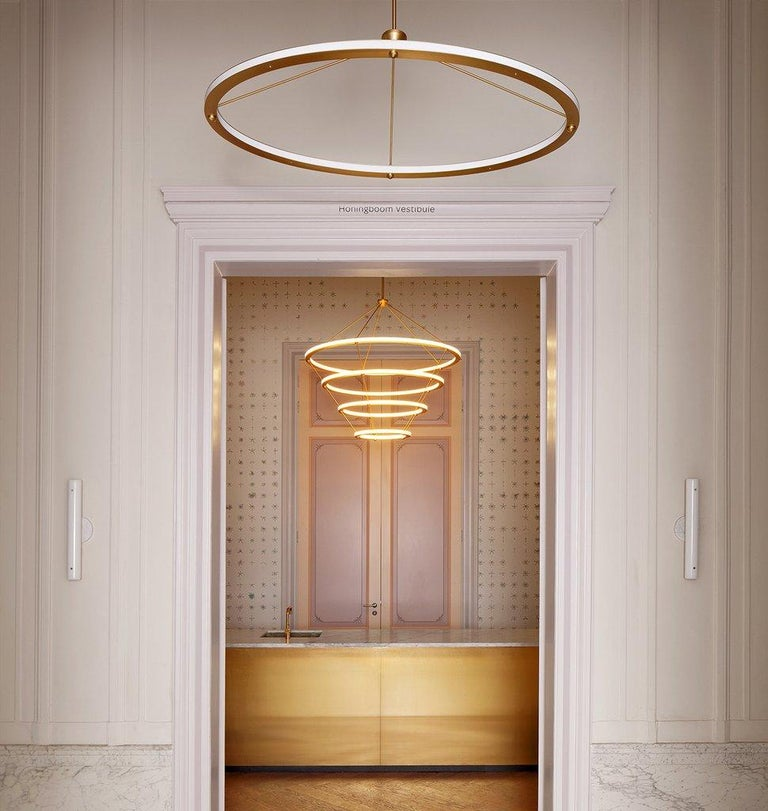Halo Circle Pendant Light in Brass by Paul Loebach for Roll & Hill In New Condition For Sale In Los Angeles, CA