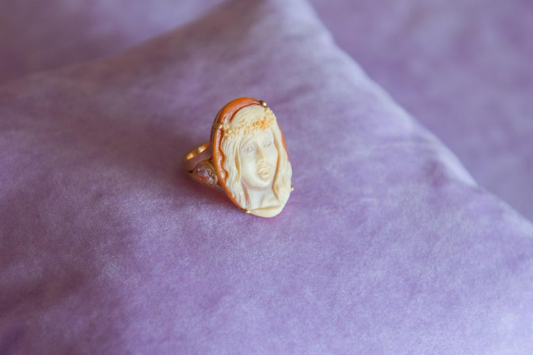 Hand-Carved Halo Cornelian Cameo Ring in 18k Pink Gold and Yellow Diamonds by Cindy Sherman For Sale