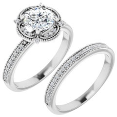 Halo Diamond Accented Clover Ring Hearts and Arrows Moissanite 2.50 Carat