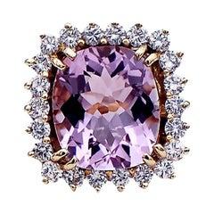 Halo Diamond and  PInkish Colored  Kunzite Cushion Cut Ring, 14 Karat