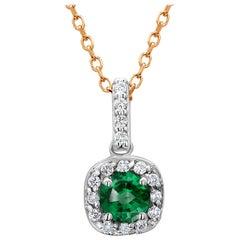 Halo Diamond and Emerald Pendant Gold Drop Pendant Necklace