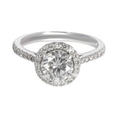 Halo Diamond Engagement Ring in Platinum EGL Certified F SI2 1.05 CTW
