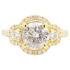 Halo Diamond Ring, 2.25 Ct Diamond Three-Stone Ring, Engagement Ring, 18k Gold