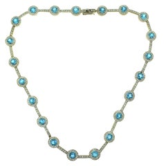 Halo Gemstone Aquamarine and Diamond Chain Link White Gold Necklace