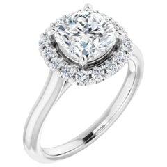 Halo Cushion Cut Diamond Engagement Ring White Gold