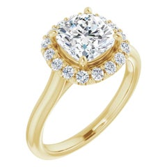 Halo GIA Cushion Diamond Engagement Ring Yellow Gold