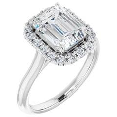 Halo GIA Certified Emerald Cut Diamond Engagement Ring White Gold 0.75 Carat