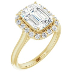 Halo Emerald Cut Diamond Engagement Ring Yellow Gold