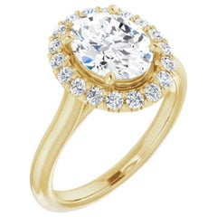 Halo GIA Oval Brilliant Diamond Engagement Ring Yellow Gold