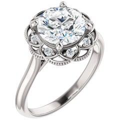 Halo GIA Certified Round Brilliant Diamond Engagement Ring 14 Karat White Gold