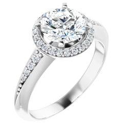 Halo GIA Certified Round Brilliant White Diamond Engagement Wedding Ring