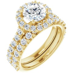 Halo GIA Certified Round Diamond Engagement Ring 14 Karat Yellow Gold 2.10 Carat