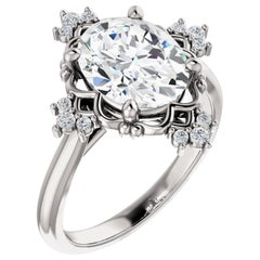 Halo GIA Certified Shared Prong Oval Diamond Engagement Ring 14 Karat White Gold