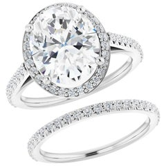 Halo GIA Oval Diamond Wedding Bridal Ring Set 18 Karat White Gold 2.26 Carat