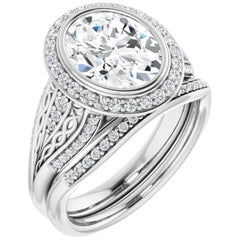 Halo GIA Oval Engagement Ring Interwoven Round Brilliant Diamond Accented Shank