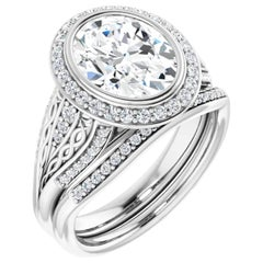 Halo GIA Oval Interwoven Diamond Engagement Ring 18k White Gold 1.52 Carats