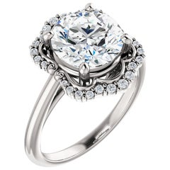 Halo GIA Certified Round Brilliant Diamond Engagement Ring 14k White Gold