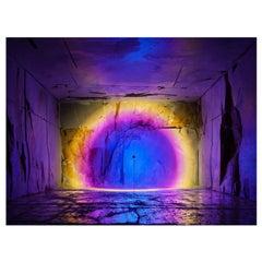 'Halo Giga' Deep Blue Floor Lamp or Color Projector by Mandalaki Studio