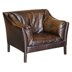 Halo Groucho Bike Tan Brown Leather Armchair Loveseat Part of a Large Suite