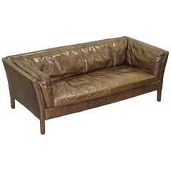 Halo Groucho Conker Brown Leather Large Two-Seat Sofa Comfortable