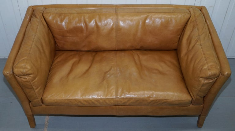 Halo Groucho Leather Small 2 Seat Sofa Matching Armchair