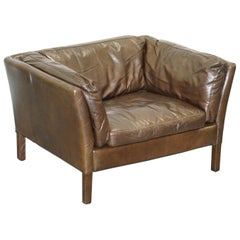 Halo John Lewis Groucho Aged Brown Leather Armchair Very Comfortable