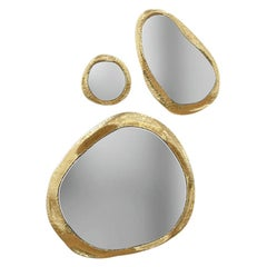 Halo Mirror in Hammered and Polished Brass