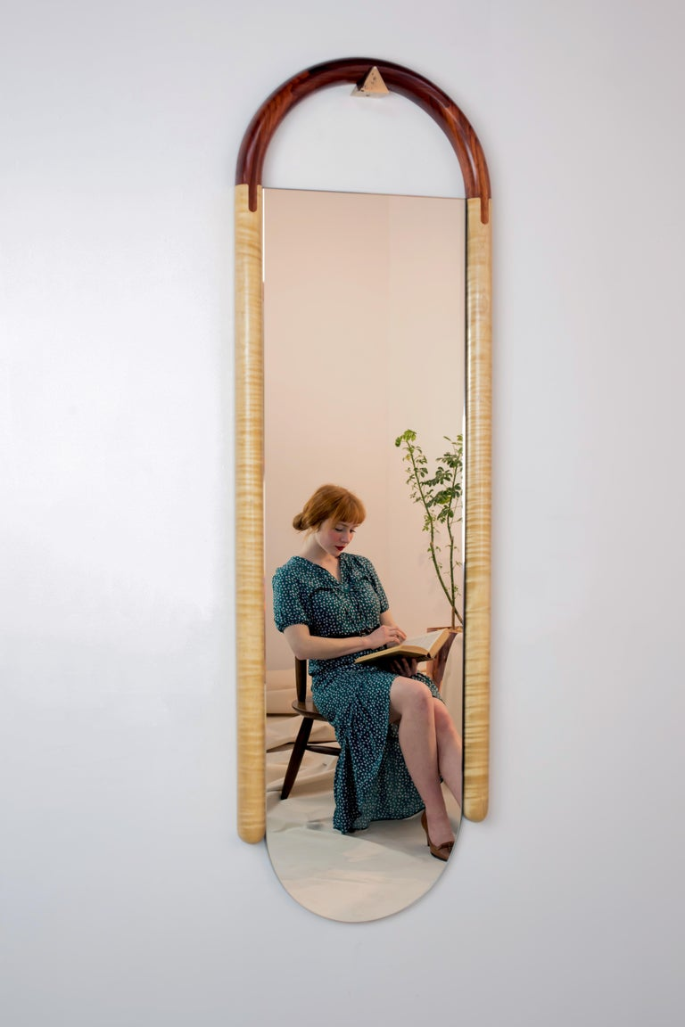 Bronze Halo Mirror Wall Mounted Birnam Wood Studio in Cherry and Curly Maple For Sale