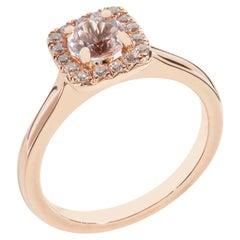 Halo Morganite Engagement Ring 18 K Rose Gold 16 Diamonds G/H VS/SI Quality