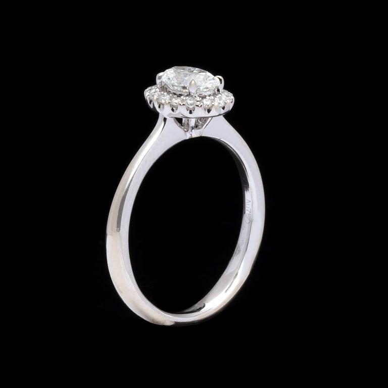 Oval Cut Halo Oval Diamond White Gold Engagement Ring For Sale