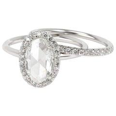 Halo Oval Rose Cut Diamond Engagement Wedding Set in 18K Gold G VS1 2.55 Carat