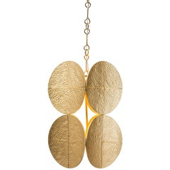 HALO PENDANT - Modern Gold Leaf Chandelier with Brass Chain