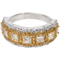 Halo Princess Yellow Diamond Ring in 18 Karat Gold 2.00 Carat