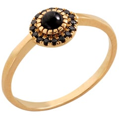 Halo Ring in 10 Carat Yellow Gold Black Diamonds and Opal from Iosselliani