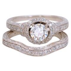 Halo Round Diamond Ring and Diamond Band Set 1.30 Carat 14 Karat White Gold