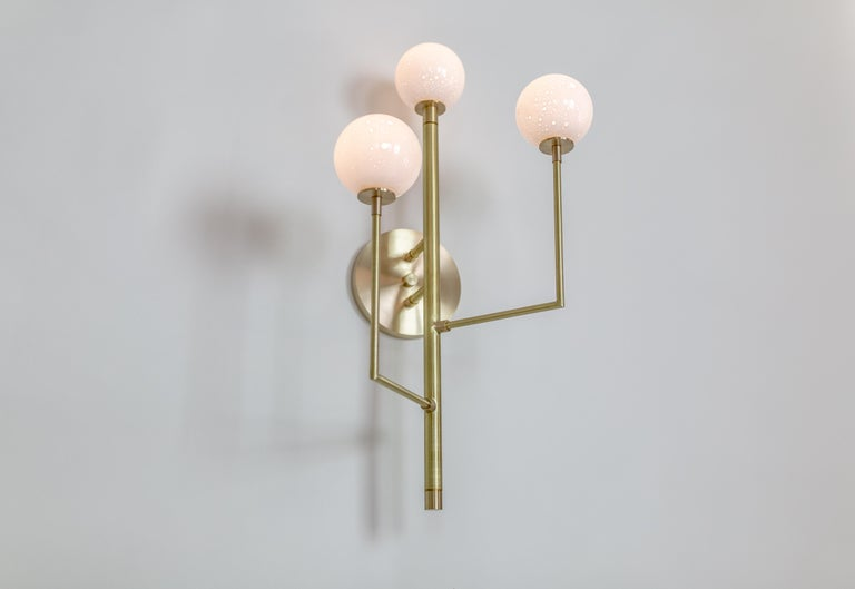 Halo Sconce 3, Brass, Hand Blown Glass Contemporary Wall Sconce, Kalin Asenov For Sale 5