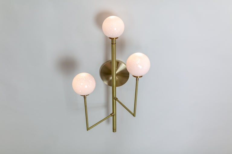 Halo Sconce 3, Brass, Hand Blown Glass Contemporary Wall Sconce, Kalin Asenov For Sale 6